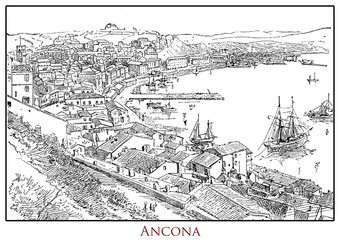 Illustrated table with a panoramic view of the city of Ancona seaport in the Marche region in central Italy, from a lexicon of the 19th century