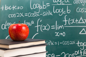 The desk in front of the blackboard