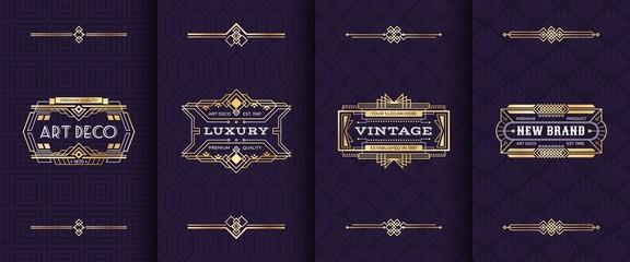 Art deco ornament invitation card. Vector illustration vintage decorative mockup in classic artdeco retro style. Gold luxury greeting pattern cards design