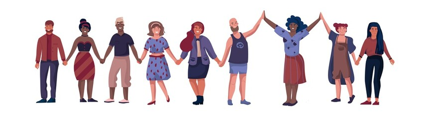 Friends characters. People standing together and holding hands, cartoon friendship and unity concept. Vector illustrations happy flat boys and girls join hands up