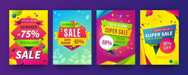 Banner sale poster. Promotion flyer, discount voucher template special offer market brochure. Vector image sale ads labels and set signage promo banners