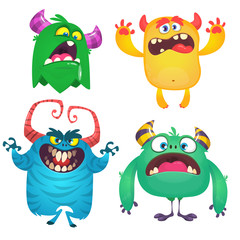 Funny cartoon monsters set. Halloween vector illustration