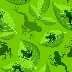 Frog shapes on Green Leaves Vector Sesmless Textile Pattern Design