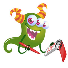 Funny cartoon monster. Vector Halloween illustration