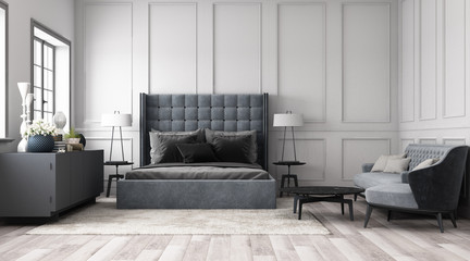 Modern classic bedroom with wall decorate by classic element and furniture grey tone. 3d render Fototapete