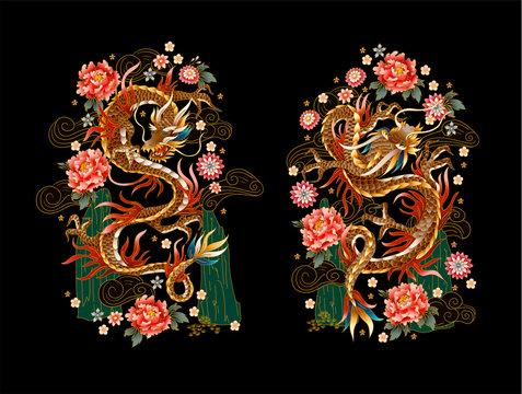 Chinese traditional dragon, peonies and sakura. vector.