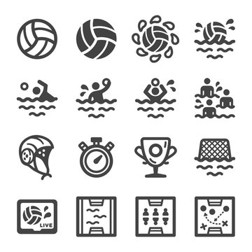water polo sport and recreation icon set,vector and illustration