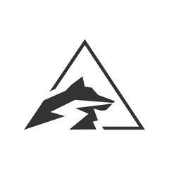 Abstract wolf silhouette combined with a triangle in one logotype. Vector image.
