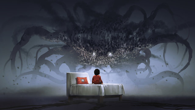 nightmare concept showing a boy on bed facing giant monster in the dark land, digital art style, illustration painting