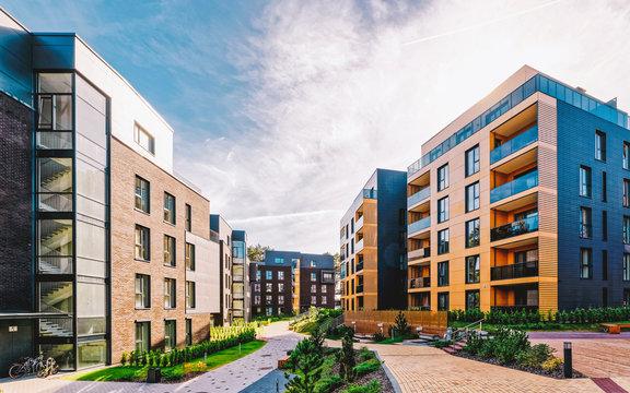 EU Modern european complex of apartment buildings