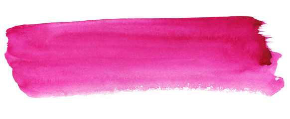 Fototapeta Pink abstract strip of watercolor background, wet smear obraz