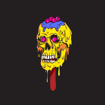 Skull ice lolly with red cherry melts and flows. Creepy cartoon blue ice cream illustration for prints, t-shirts, Halloween or tattoo.