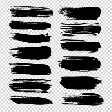 Black straight brushstrokes textured big set isolated on imitation transparent background