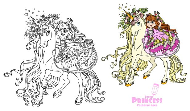 Beautiful princess rides on the back of a unicorn in a wreath of roses color and outlined picture for coloring book on white background