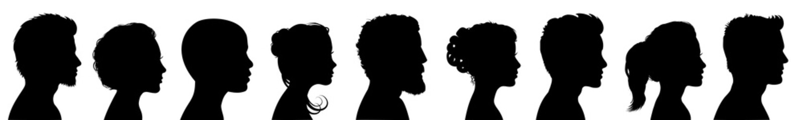 Group young people. Profile silhouette faces boys and girls set – for stock