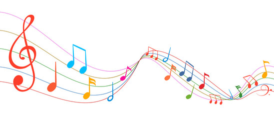 Music notes wave, group musical notes background – for stock