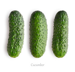 Wall Mural - Set of fresh cucumber