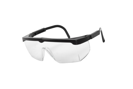 transparent work safety glasses on a white background