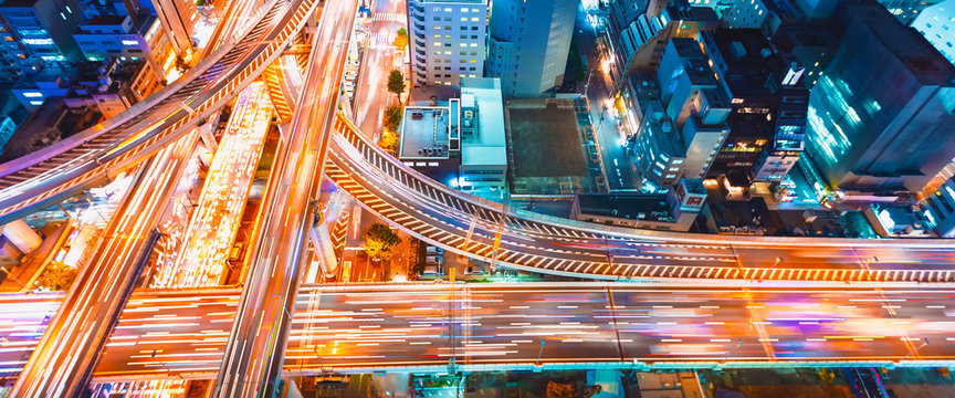 Aerial view of a massive highway intersection in Osaka, Japan