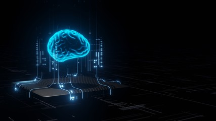 3D Rendering of Artificial Intelligence hardware concept. Glowing blue brain circuit on microchip on computer motherboard. For big data processing, ai trading, machine learning, technology background Fototapete