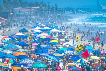 Hundreds of colored umbrellas at the beach