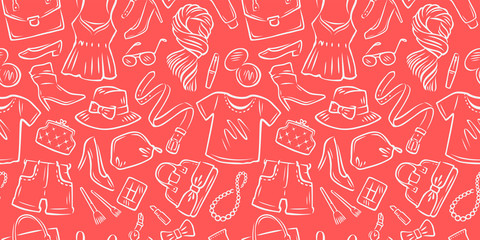 Fashion seamless background. Clothing collection, shopping, clothing store vector illustration Wall mural