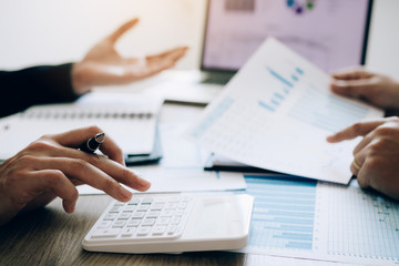 Accounting staff have stress in finding the financial statements of the company with outstanding debt. - fototapety na wymiar