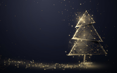 Gold christmas tree and Sparkling lights garland from lines, triangles and particle style design. Illustration vector