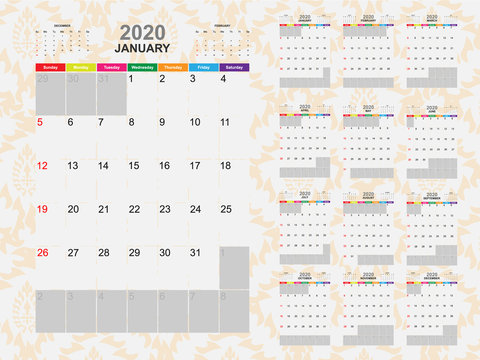 Calendar template for year 2020 collection. Template for planning and create to do list in year 2020. Vector EPS10