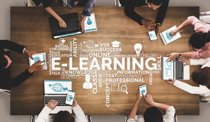 Wall Mural - E-learning and Online Education for Student and University Concept. Graphic interface showing technology of digital training course for people to do remote learning from anywhere.