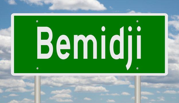 Rendering of a green highway sign for Bemidji Minnesota