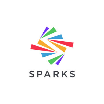 Abstract S letter for spark logo icon on negative space on white background