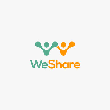people share logo icon vector template on white background