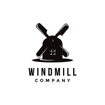 minimalist windmill logo icon vector template on white background