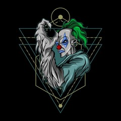 monster clown sacred geometry illustration