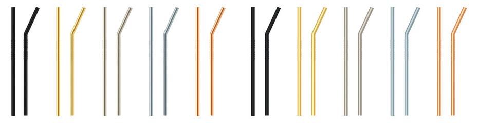 Fototapeta Set metal straw for drinks. Ecological material. obraz