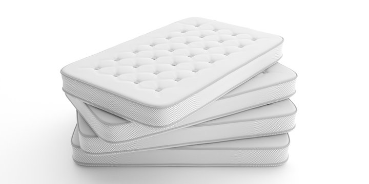 Mattresses stack isolated on white background. 3d illustration
