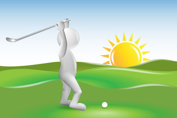 3D small people golfer in a sunny day vector image logo template