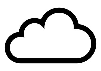 gz430 GrafikZeichnung - german: Wolke / english: cloud - close-up - simple icon isolated on white background - template g8471