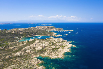 Fototapete - View from above, stunning aerial view of the Maddalena archipelago in Sardinia with beautiful bays of turquoise sea. Maddalena Arcipelago National Park, Sardinia, Italy.