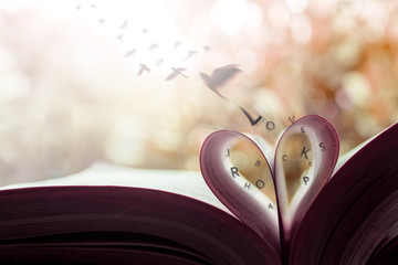Freedom and Love Concept. Birds Flying out the Page Roll like a Heart Shape on Book. Vintage Warm Tone