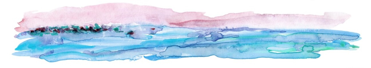 Hand Drawn Watercolor Landscape Fototapete