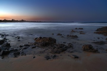 Wall Mural - Smoke haze over Diamond Beach Australia long exposure panorama