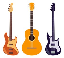 Guitar set. Acoustic and electric guitars isolated on white background. String musical instruments. Cute flat style vector illustration.