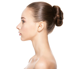 Profile face of  young  woman with clean skin