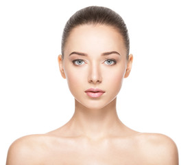 Obraz Beautiful face of young woman with healthy clean skin - fototapety do salonu