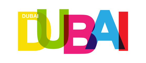 DUBAI. Banner with United Arab Emirates city name