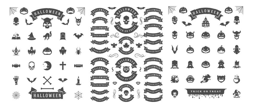 Halloween silhouettes and icons set isolated on a white background vector illustration.