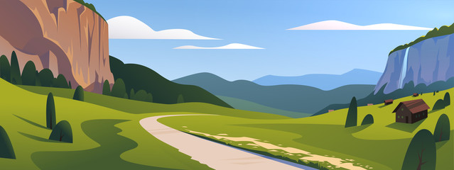 Vector flat summer landscape illustration, wild nature view: sky, mountains, meadow, road, village. For car travel banner, road trip card, touristic advertising, vacation brochure, flayer, etc.