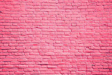 Brick wall red-pink color, copy space, brick texture, background